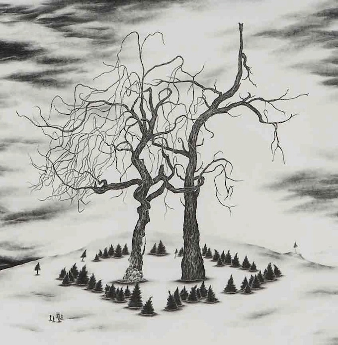 "For $2,500: Commission a drawing featuring your favorite tree by Robyn O'Neil, the artist behind the gorgeous covers of McSweeney's 32 and Alessandro Baricco's ""Emmaus""."