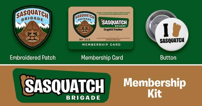 Sasquatch Brigade Membership Kit items (not to scale).
