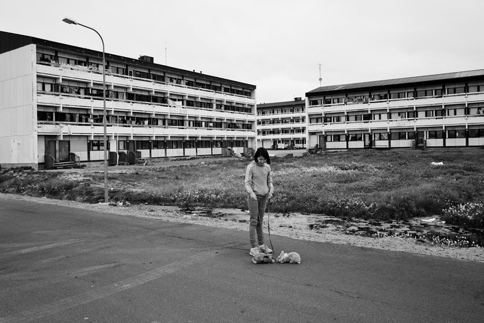 Arnarissoq Rasmussen, 11, walking her two rabbits rabbits Hugo and Redicon, Sisimiut, 2014, Lasse Bak Mejlvang
