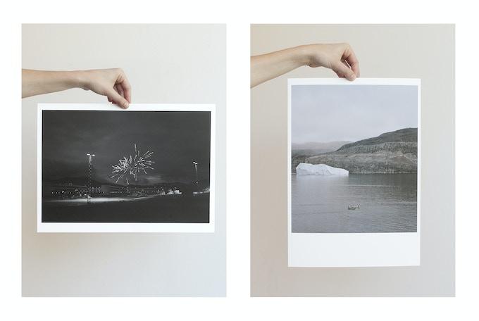 Left: Fireworks, Sisimiut, 2014, Lasse Bak Mejlvang. Right: Meeting at sea, Tasiusaq, 2014, Dennis Lehmann