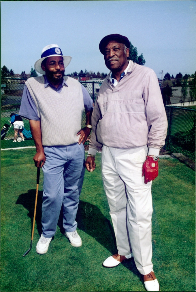 Fir State golfer Sam Jennings and a friend circa 1970's