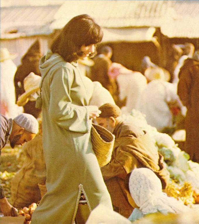 1973, Morocco: Paula shops at a market outside Tangier.
