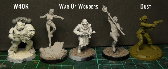 size comparison between one W40k plastic Space Marines and a Dust Tactics plastic figure.