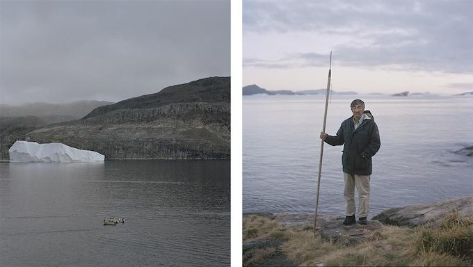 Left: Meeting at sea, Tasiusaq, 2014, Dennis Lehmann. Right: Simon Bidstrup, Tasiusaq, 2014, Dennis Lehmann