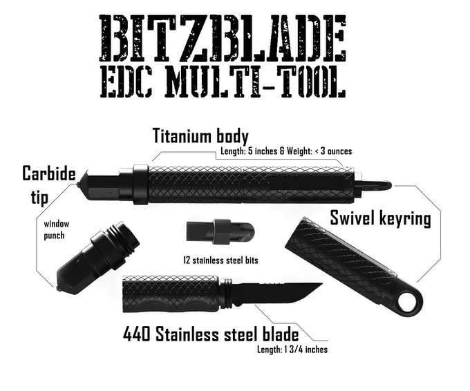 Bitzblade An Edc Multi Tool Keychain In Titanium By