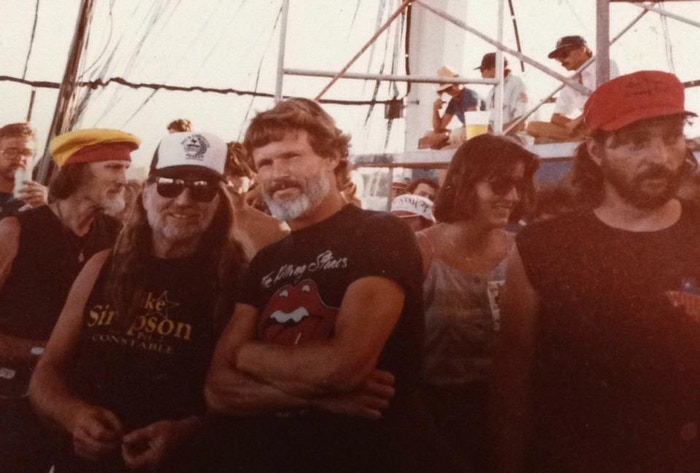 Presumably at a 4th of July Picnic in the 1970's...Ben Dorcy, Willie Nelson, Kris Kristofferson, Margot Kidder, and Bee Spears.