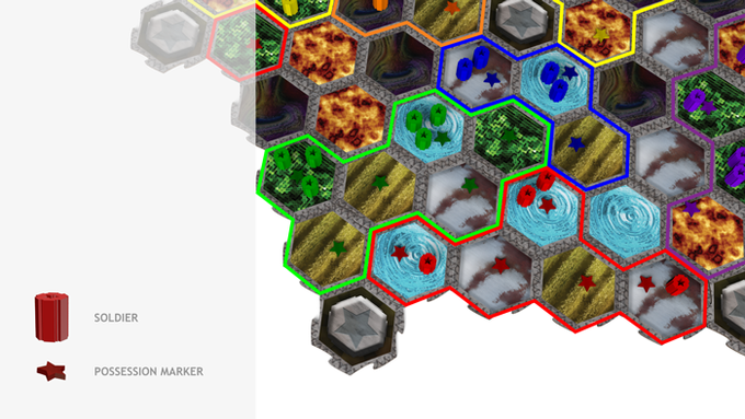 Possession Markers are placed to identify territories you control. Territories (highlighted) must remain connected to a base tile or all of the Soldiers in the territory will die.