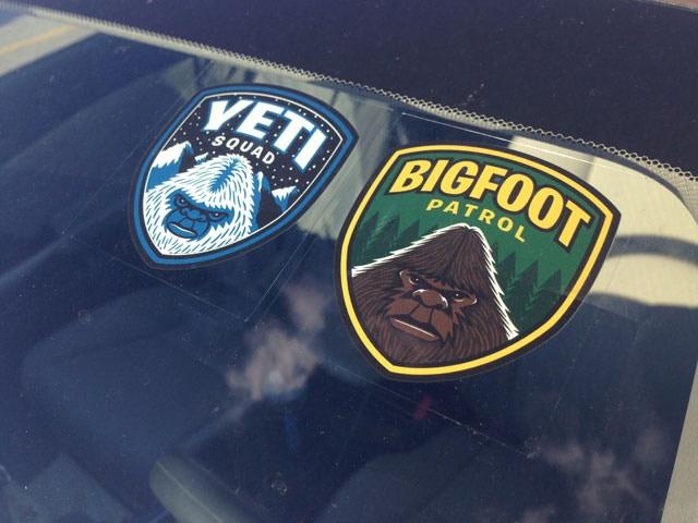 """Bigfoot Patrol"" & ""Yeti Squad"" window clings"