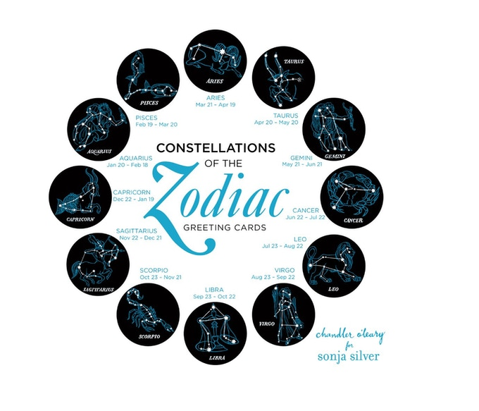 A boxed set of 12 zodiac greeting cards illustrated by Chandler O'Leary