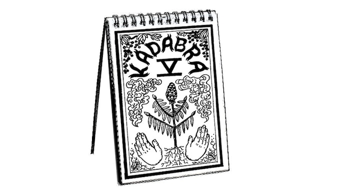 Mock up of KADABRA Vol. 5 featuring cover image by Carrie Vinarsky. (Please note that the finished cookbook will include color.)