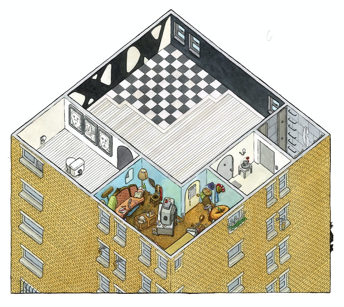 """ORIGINAL WATERCOLOR apartment of The Mime from the McSweeney's classic The Clock without a Face. 20"""" x 22"""""""