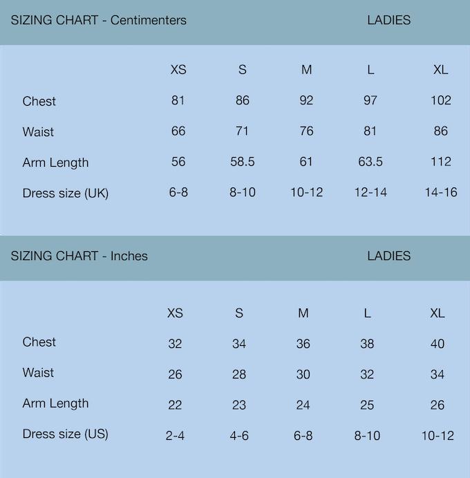 Heritage Jersey sizing charts