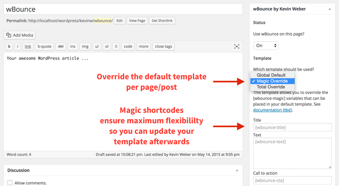 The new feature allows you to override the default template per page.