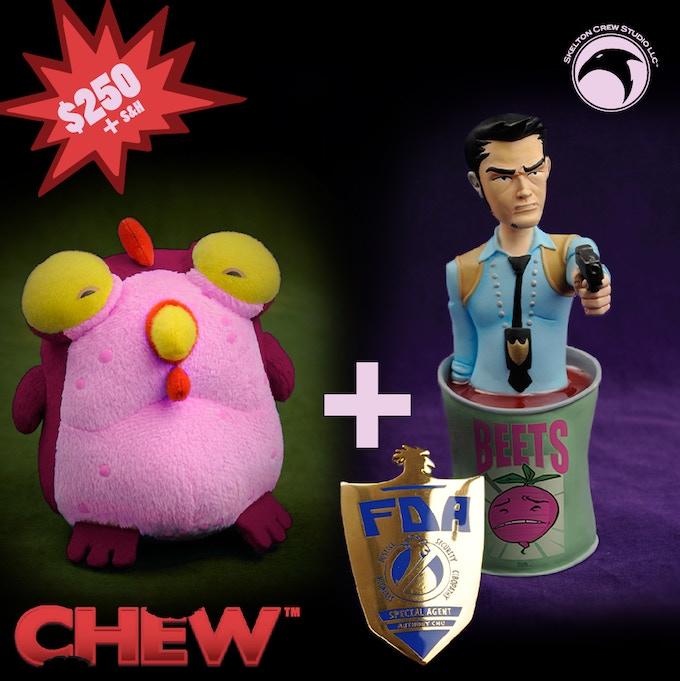 Tony Chu mini-bust, Kickstarter-exclusive Chog and never-released FDA badge!