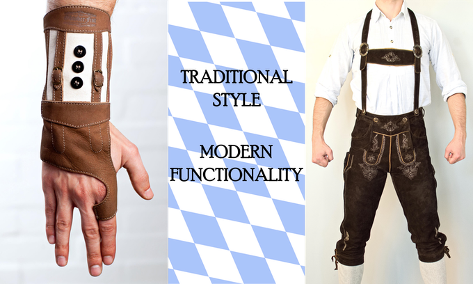 Inspired by traditional Bavarian folk attire (lederhosen), scaled to hand-size for convenience.  Hold the joy of Oktoberfest in the palm of your hand.