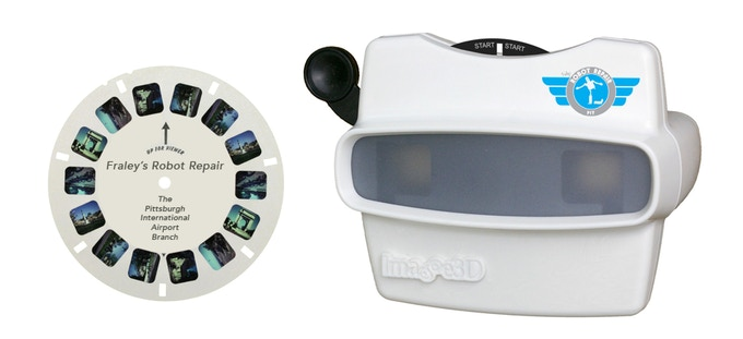 The View-Master®. Seven 3D images of the shop for you to enjoy in the comfort of your own home. It's just like being there.