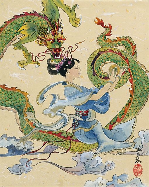 Guan Yin and Good Luck Dragon