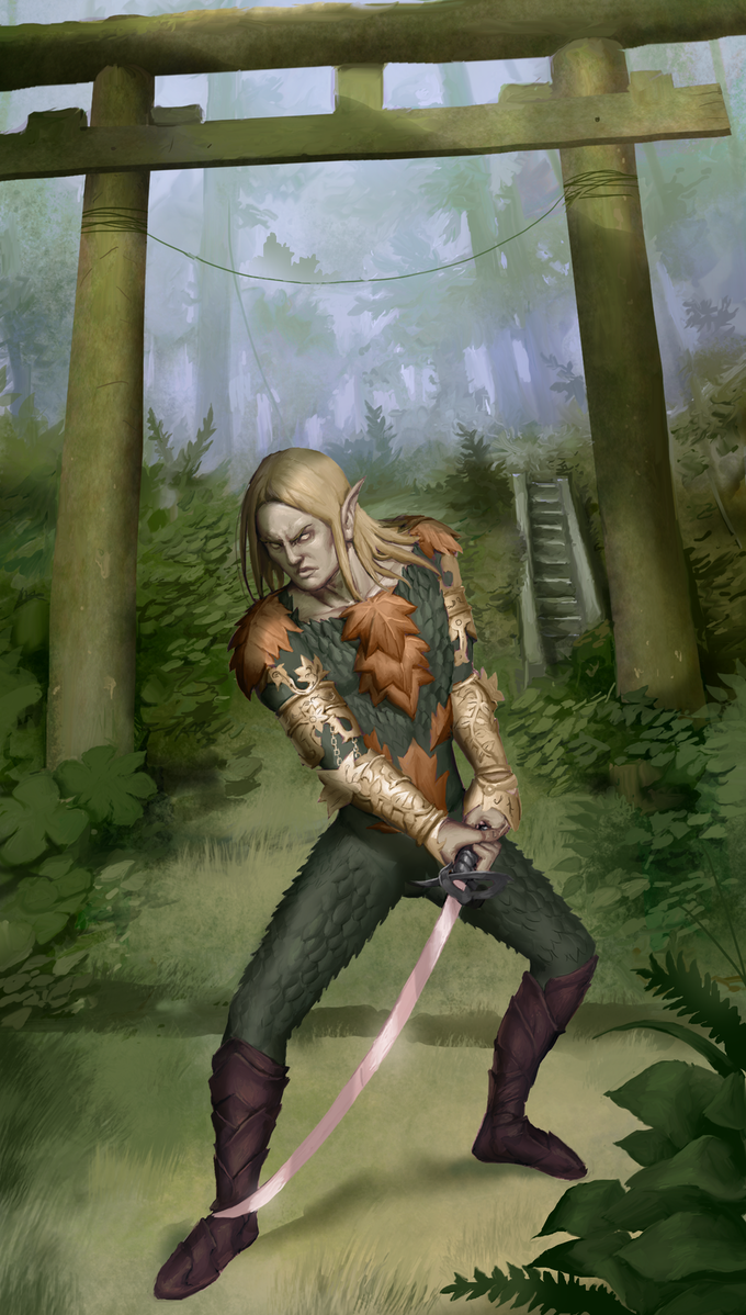 This elven monk is of the warrior Iron Kiss Tradition.