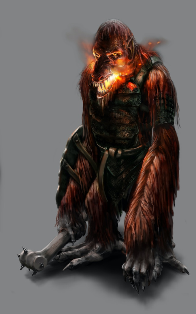 Fire trolls are one of the most aggressive of the troll types, but are often willing to trade their fire proof fur for metal weapons and tools.