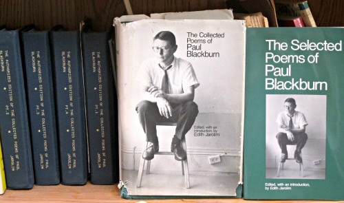 Those four blue volumes? One copy of my NYU dissertation, from which the  Collected and Selected poems are derived
