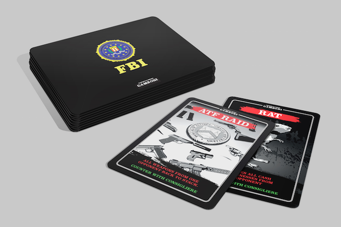 7 x FBI cards, poker size, all illustrated by hand.