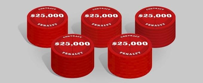 25 x Penalty chips $ 25,000, cardboard poker chip 39mm * 2mm.