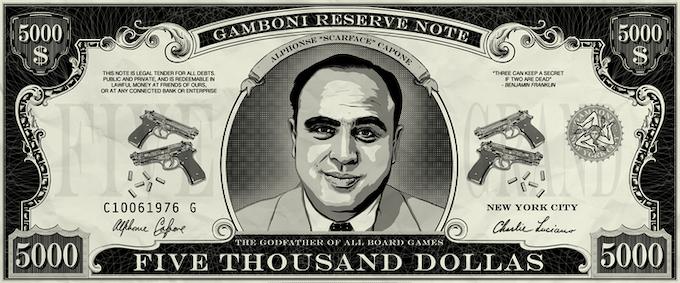 "50 x GAMBONI $ 5,000 dollas ""Scarface Capone"". Size: 10 * 4 cm / 4"" * 1"""