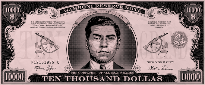 """50 x GAMBONI $ 10,000 dollas """"Lucky Luciano"""". Size: 10 * 4 cm / 4"""" * 1"""""""
