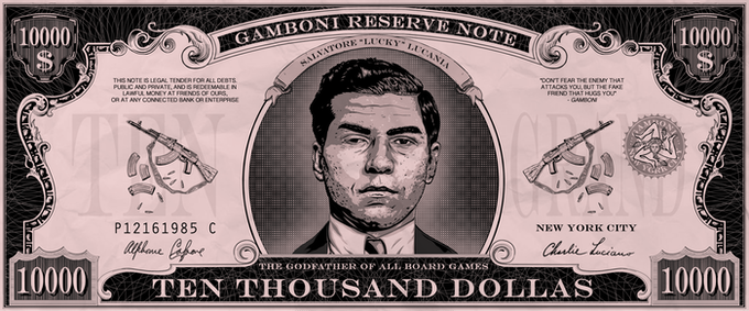 "50 x GAMBONI $ 10,000 dollas ""Lucky Luciano"". Size: 10 * 4 cm / 4"" * 1"""