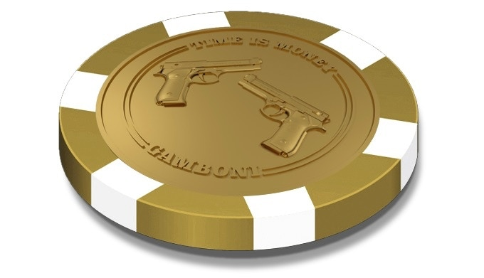 """1 x Round marker """"TIME IS MONEY"""" casino quality poker chip 39mm * 3mm."""