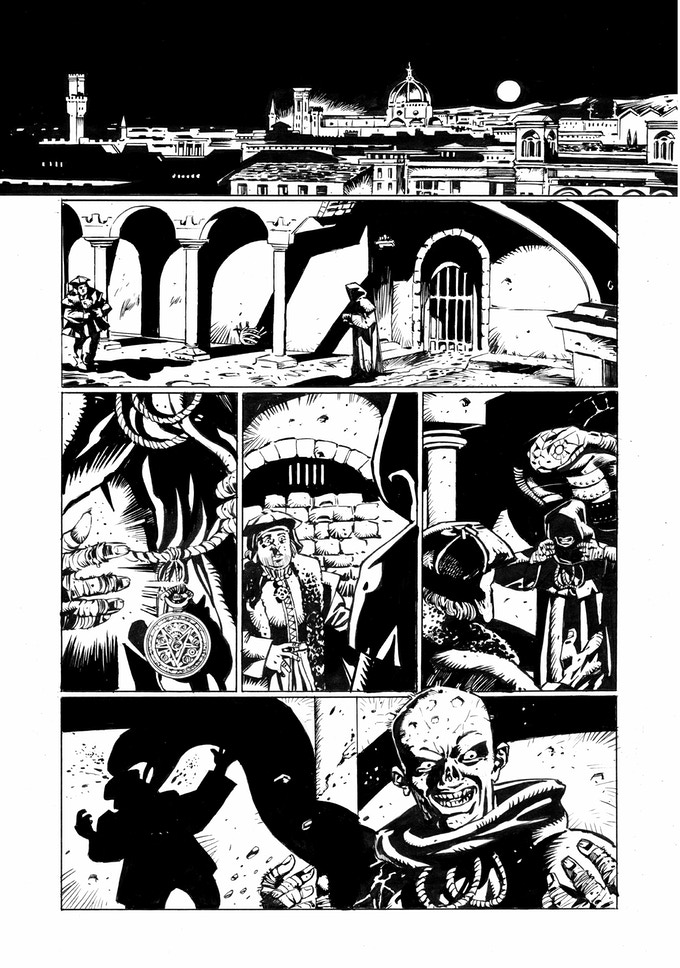 "Page 1 Inks from ""Viventem Metalum"" by Nick Dyer written by Rob Richardson from Shit Flingers: Bestiary #2"