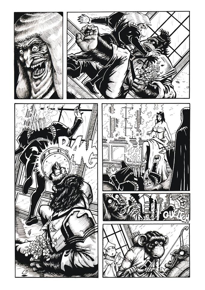 "Page 9 Inks of ""The Holy & The Innocent"" by Blas Bigatti and Santiago Gerron Fenandez from Shit Flingers: Bestiary #3"