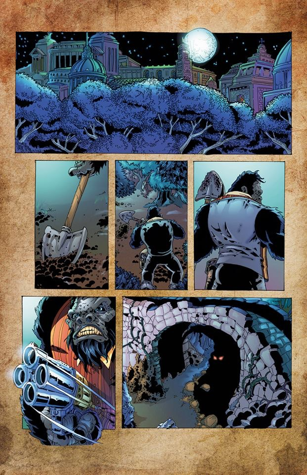 "Page 1 Colours of ""Catfish"" by Donovan Petersen and written by Chris Sides from Shit Flingers: Bestiary #5"