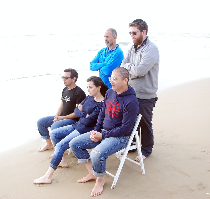 The miggo team trying real hard to look serious during AGUA's video shooting