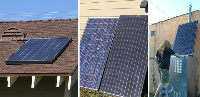 Solar panels can be placed on the roof and/or on the ground and facing south