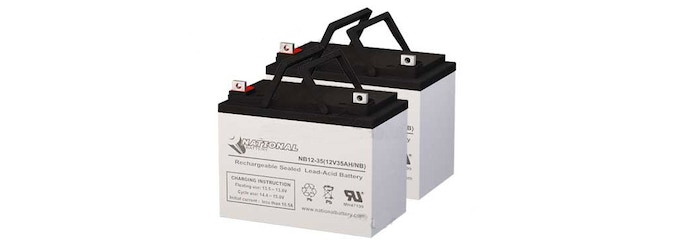For example: the Set of two 12V 35Ah Batteries + Shipping Included from BatterySharks $124