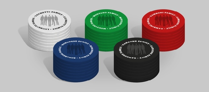 250 x AREA tokens, cardboard chips 39mm * 2mm, 5 colors x 50