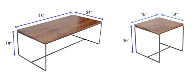 Coffee Table & End Table Dimensions