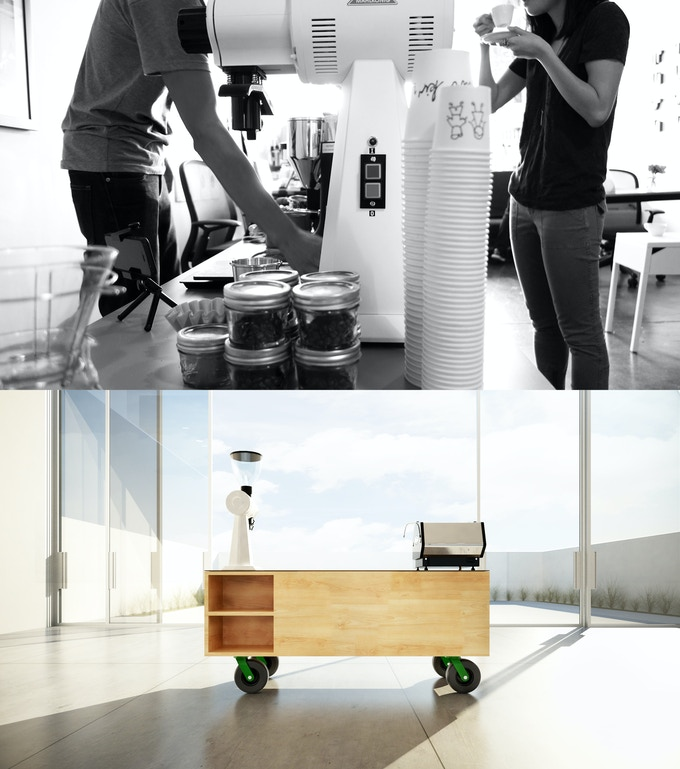 """(top) our coffee equipment; (bottom) with the help of our good friend Sean Miller, we're happy to introduce you to the, """"Kid Kart."""""""