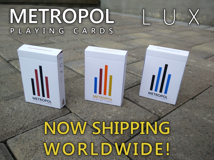 The LUX deck is the companion to last year's NOX deck.  Featuring both 4-colour and 2-colour designs, the LUX deck is printed by LPCC.