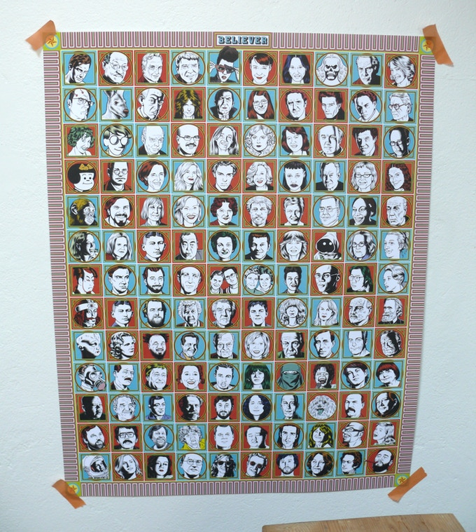 For $15: The Believer Faces Poster, featuring 130 Charles Burns–illustrated persons or creatures, and as many recognizable expressions for you to ponder and interpret.