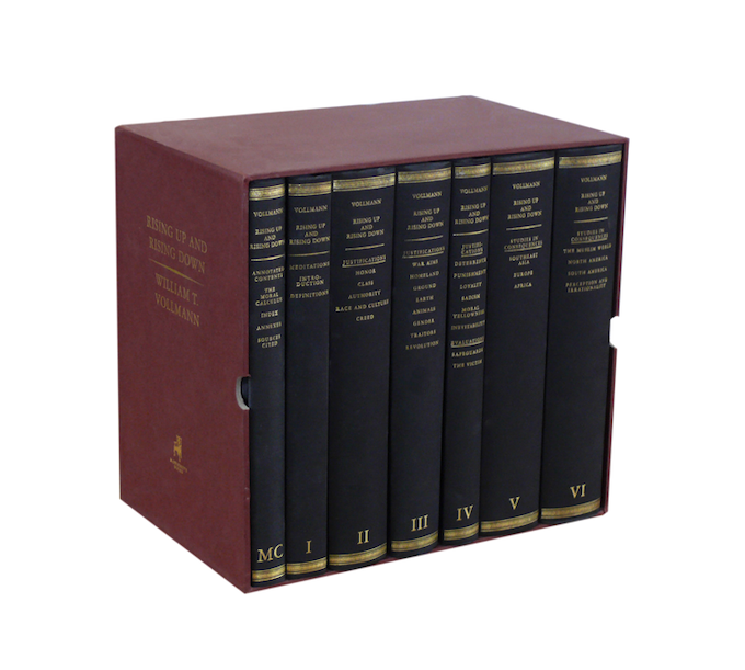 For $750: William T. Vollmann's seven-volume history of violence, Rising Up and Rising Down, published in the early days of McSweeney's and long out of print. Comes still wrapped in kraft paper from the printer.