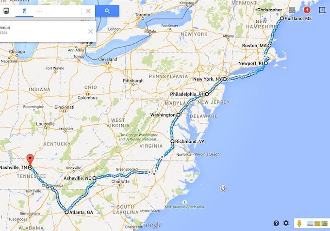 Portland, ME to Nashville, TN