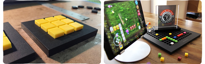 "The left picture, taken in October 2014, and was the first Bloxels prototype game board. In the picture on the left, Bloxels was first announced at New York Toy Fair 2015, where it was recognized by Popular Science for ""Best of Toy Fair""."