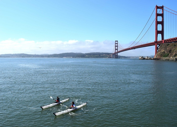 Paddling near the Golden Gate Bridge