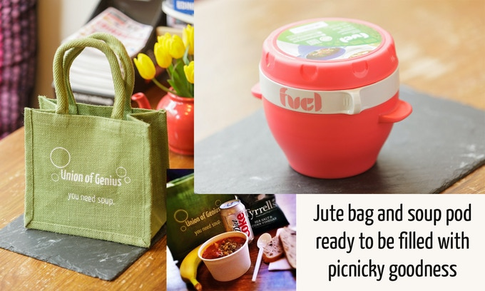 Jute bag, soup pod and example picnic items