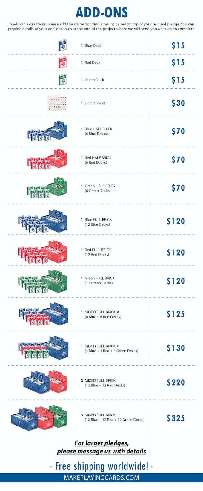 Add-ons price list