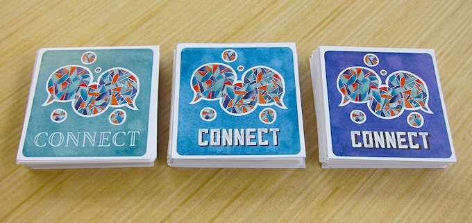 Our hand-cut, prototype deck of CONNECT.