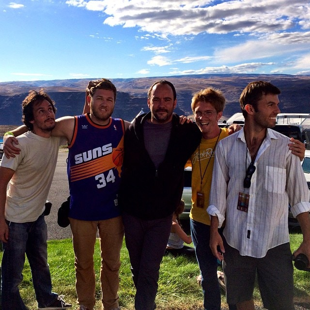 Jeff Hammerton (Cinematographer), Brett Kuxhausen (Production Assistant), Tim Williams (Producer), and Nic Davis (Director) with Dave Matthews backstage at The Gorge.