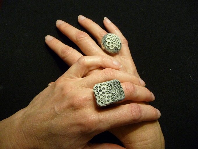 Reward #8. Ring examples: Rectangle/Landscape (left hand) and Round/Bloom (right hand).